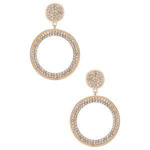 NWT Ettika Rhinestone Hoop Earring in Clear & Gold
